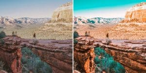 Orange and Teal Before and After Canyon